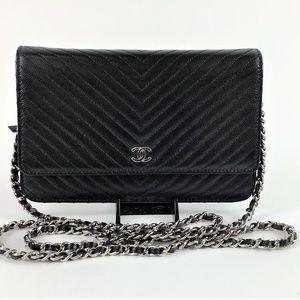 Chanel Black Caviar Chevron Wallet on Chain